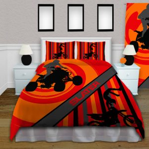 orange background atv bedding with motocross