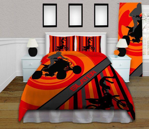orange background atv bedding with motocross