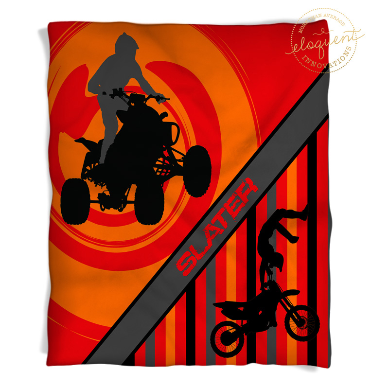 atv and motocross throw blanket with orange background