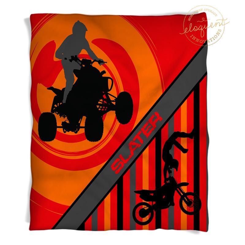 atv and motocross throw blanket with orange background