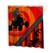orange background atv shower curtain with dirt bike