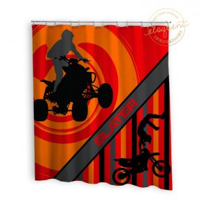 orange background atv shower curtain with dirt bike