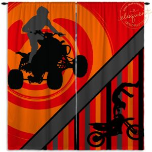 atv and motocross window curtains with orange background