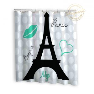Eiffel Tower shower curtain sea green