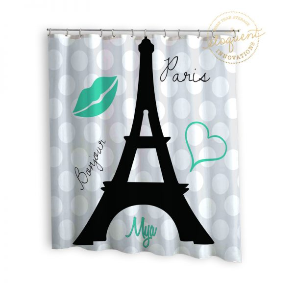 Eiffel Tower shower curtain sea green