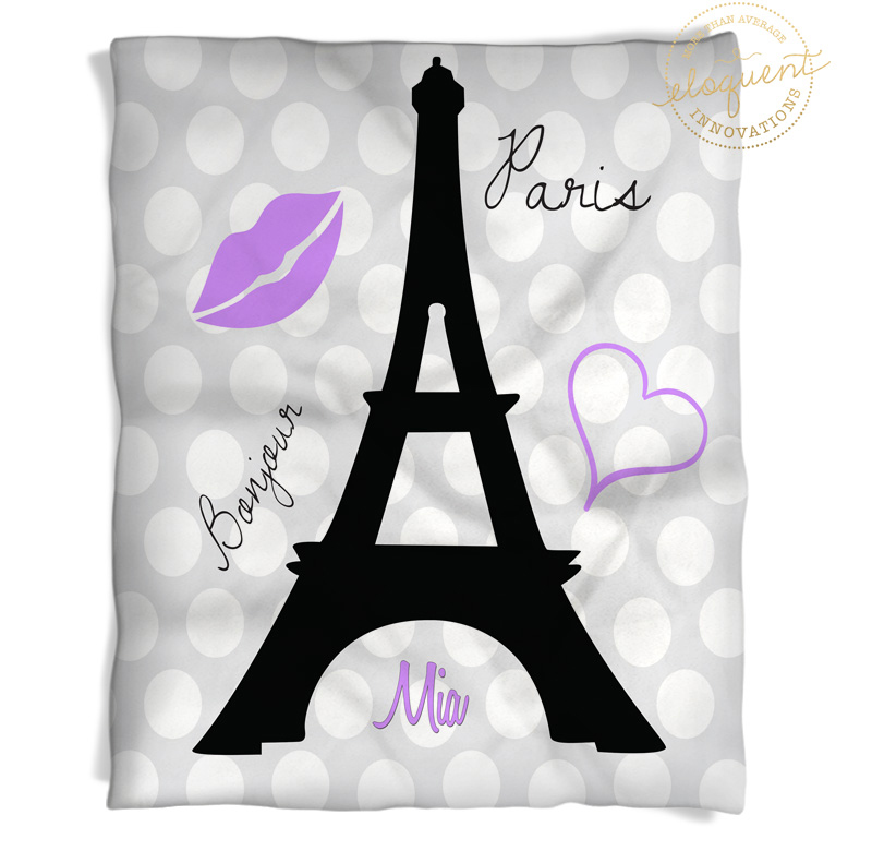 #227 Paris Eiffel Tower Throw Blanket