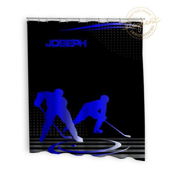 #228 Hockey Shower Curtain Blue