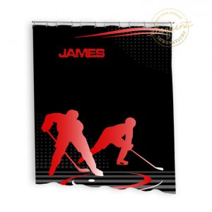 #229 Hockey Shower Curtain in Red