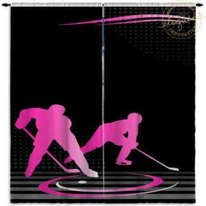 #230 Hockey Window Curtain in Pink