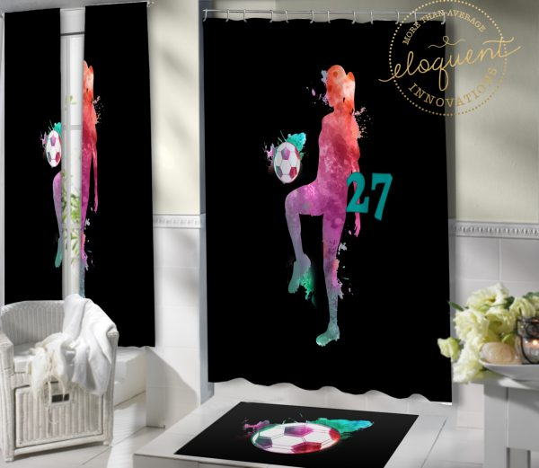#419_Girls_Soccer_Shower_Curtain
