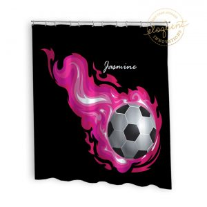#253_SoccerFlame_Shower_Curtain