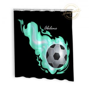 #254_SoccerFlame_Shower_Curtain