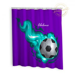 #255_SoccerFlame_Shower_Curtain