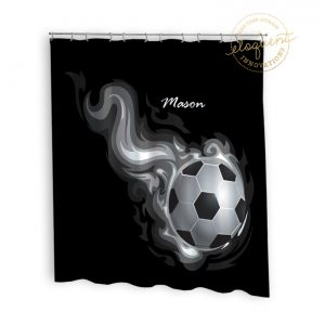 #256_SoccerFlame_Shower_Curtain