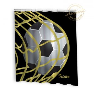#265_SoccerBlack_Shower_Curtain
