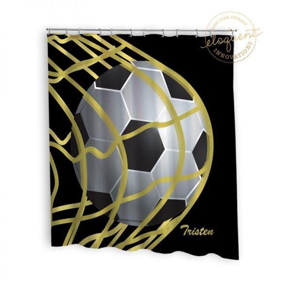 #265_SoccerBlack_Shower_Curtain