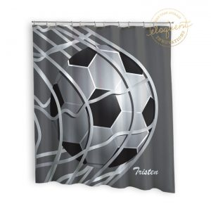 #267_SoccerBlack_Shower_Curtain