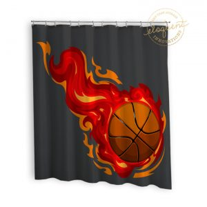 #278_BasketballRed_Shower_Curtain