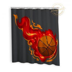 #278_BasketballRed_Shower_Curtain