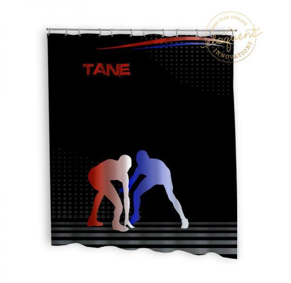 #390_Wrestling_Shower curtain