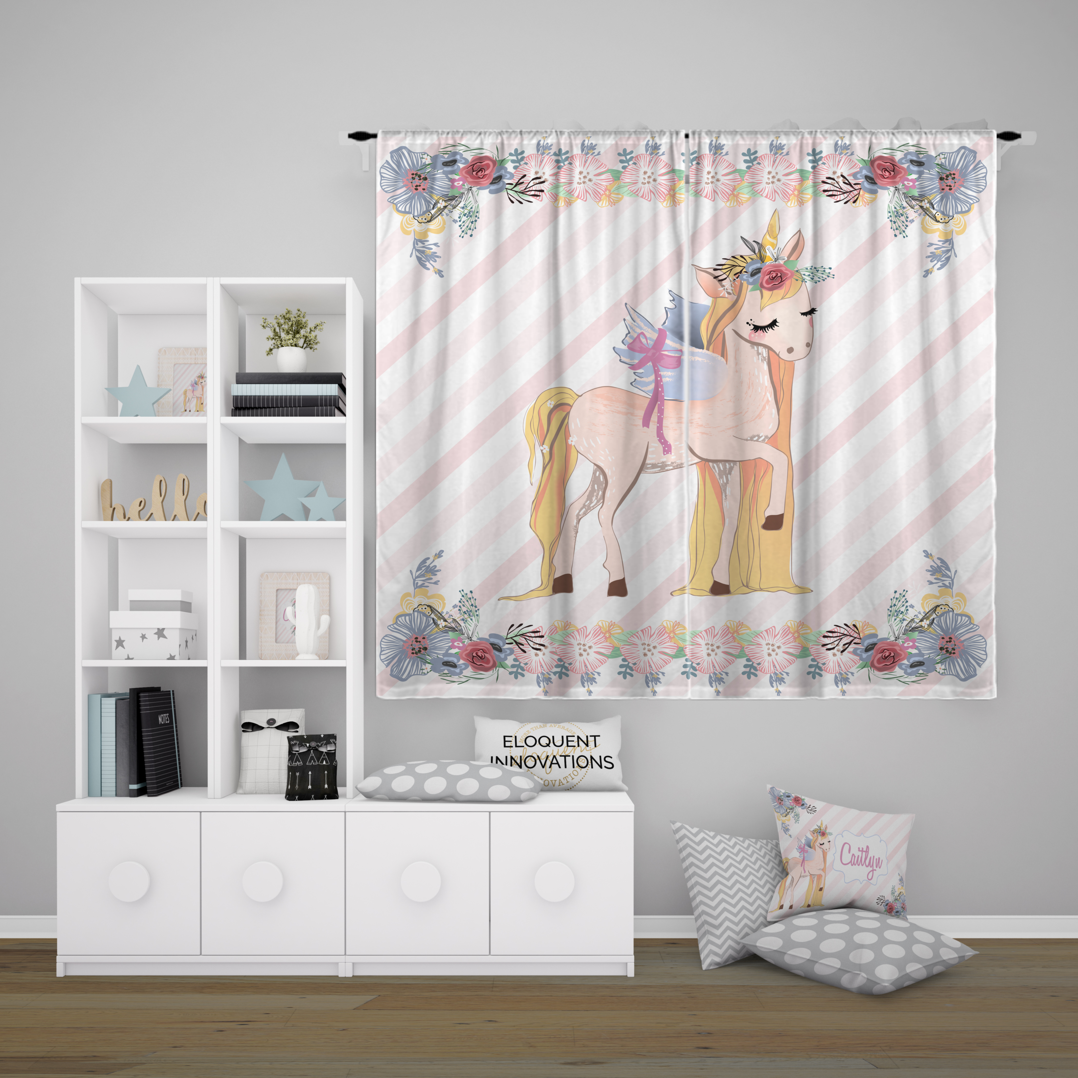 Picture of: Unicorn Curtains Girls Room Curtains With Flower And Striped Background 421 Eloquent Innovations