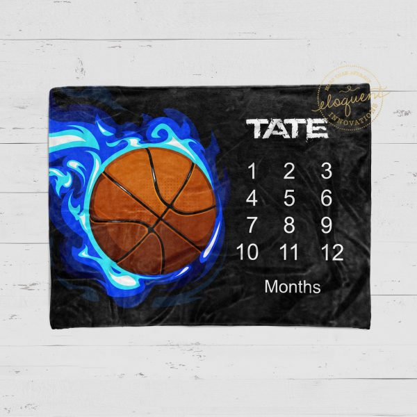#12_Basketball Milestone Blanket