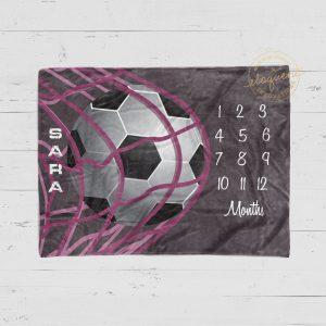 #13_Girl_Soccer Milestone Blanket