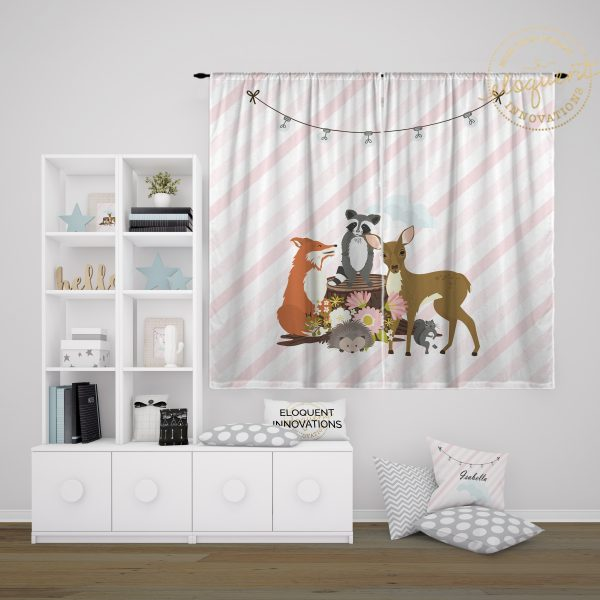 #429_Forest Animal Window Curtain