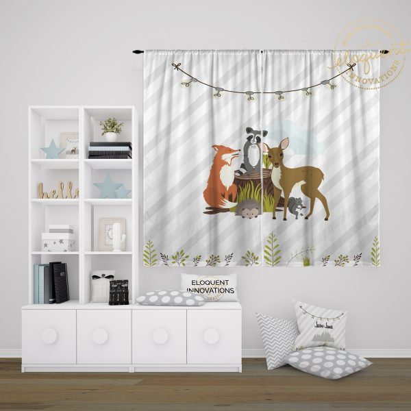 #430_Woodland Animals Window Curtains
