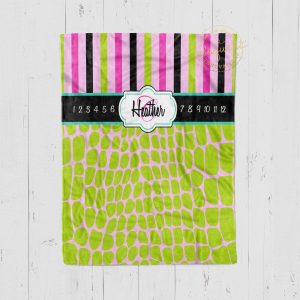 #115_Pink and Green Stripes Milestone Blanket