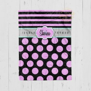 #117_Polka Dots and Striped Milestone Blanket