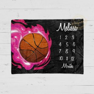 #205_Basketball Milestone Blanket