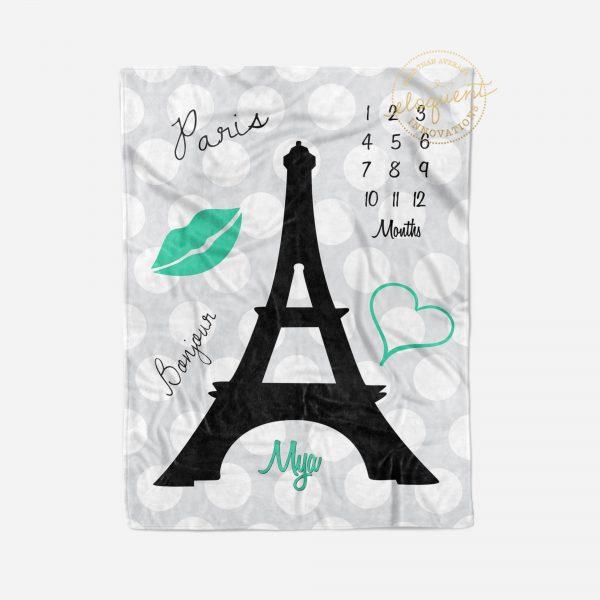 #226_Paris Eiffel Tower Milestone Blanket