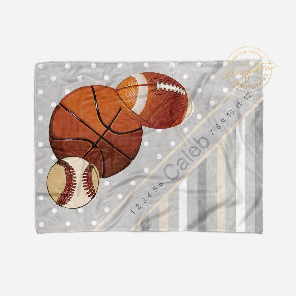 #244_Football Milestone Blanket