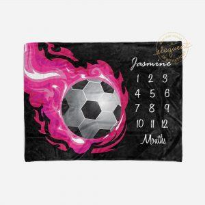 #253_Soccer Milestone Blanket