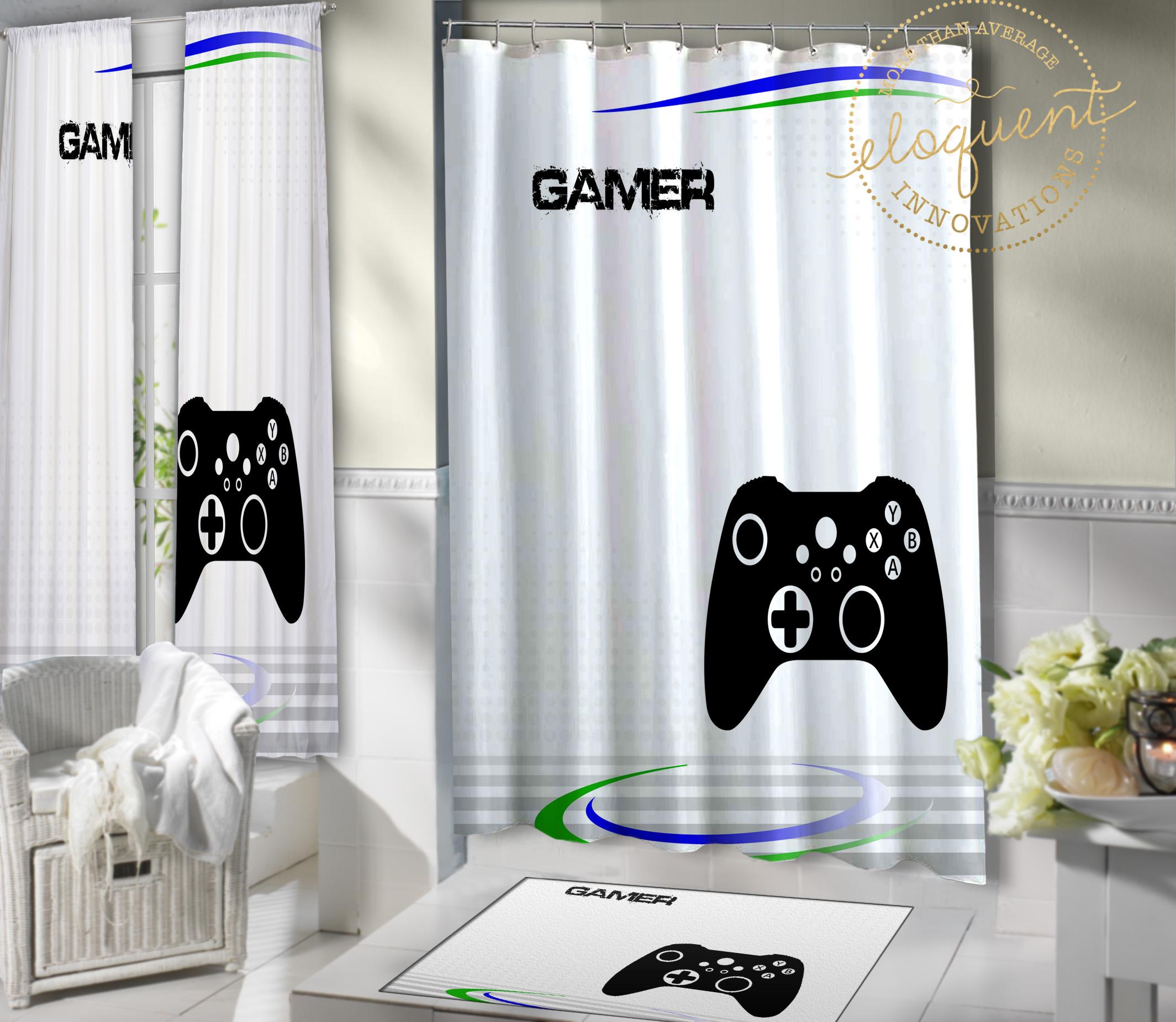 Gamer Bathroom Decor, Gaming, Bathroom Curtains, Video Game Art #10