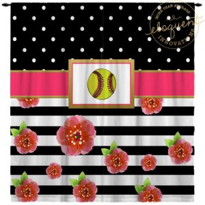 Girls Softball Window Curtains